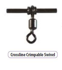 Cross line crimp-able Swivels