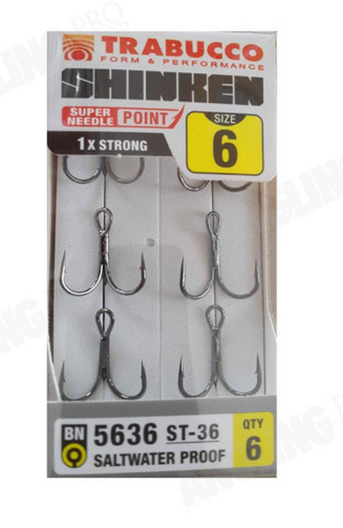 Shrinken treble fishing hooks ST 36 sizes 10-18 6 pack saltwater proof
