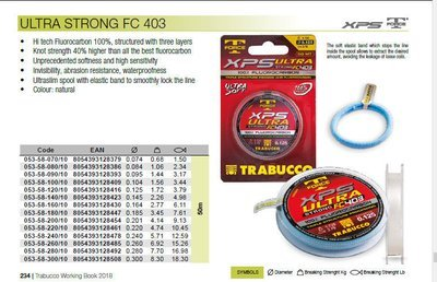 Ultra strong FC403 hi tech fluorocarbon 50m spools  1.5lb to 18lb  post free