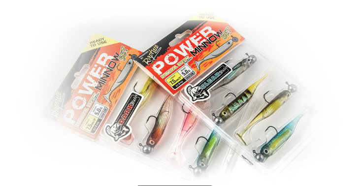 Rapture Power Minnow sets 4 per pack Clear or Dark Water, 75mm 5g heads 1/0 hook