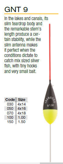Pole float GNT 9  4 x10  black/yellow .  red or yellow tips