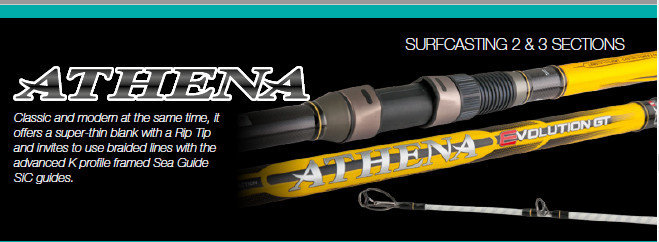 Athena Evolution GT  2 piece  UK spec surf casting rod  3.95m and 4.15m  mixed ground  can be used by fixed spool or multiplier