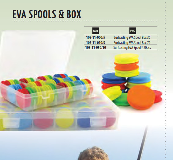 Surfcasting EVA spools 36 or 72 per racked box. Colour coded
