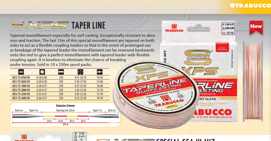 TRABUCCO XPS TAPERED LINE for surf casting 10 lb to 45lb to 18lb to 70lb available.