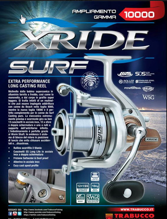 Trabucco X RIDE  surf beach casting reel with long tapered spool  5500 beach 8000 and 10000 size