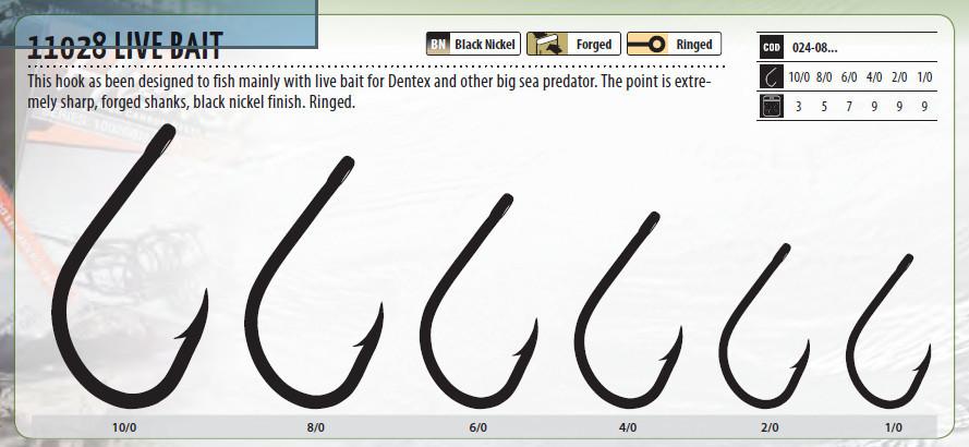 Hirashi hook Live Bait 11028 1/0 to 10/0 available