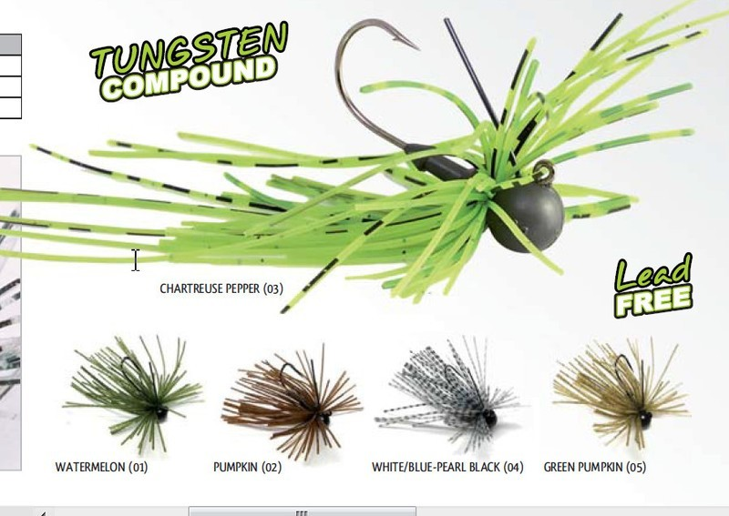 Tungsten Finesse rubber Jig 1/16 oz and 1/8th oz size 1 hooks