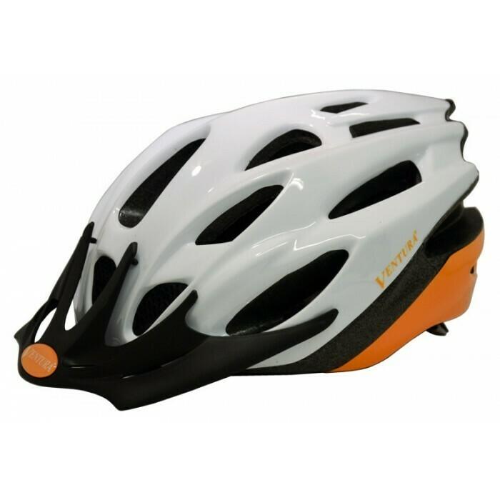 Ventura | White/Orange In-Mold Helmet in Size L (58-61 cm)