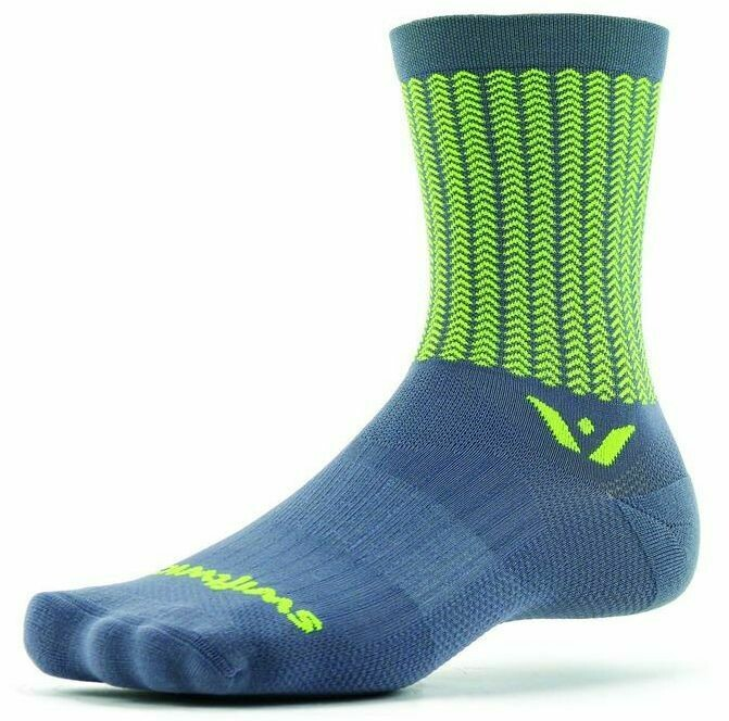 Swiftwick- VISION FIVE AERO Running & Cycling Socks, Performance Crew Socks HIGH VISIBILITY - SMALL