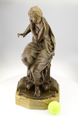 Antique Classical Bronze Seated Lady by H. Dumage
