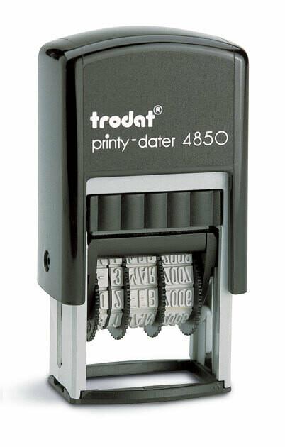 Datario automatico trodat Printy 4850/L dryteq con placca di gomma a scelta, kit completo, nero