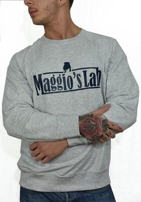 Felpa garzata uomo grigio manica lunga brendizzata -  Felpa Maggio's Lab University Blue