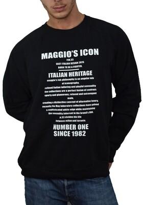 Felpa garzata uomo nera manica lunga e stampa -  Felpa Italian Heritage Crewneck