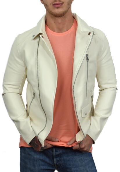 Giacca Pelle Bianca Chiodo Timeless White con collo revers e tasche con zip