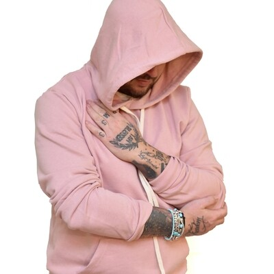 Felpa garzata uomo rosa con cappuccio e manica lunga -  Felpa Basic Hooded Washed