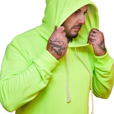 Felpa garzata uomo verde con cappuccio e manica lunga -  Felpa Basic Hooded Washed