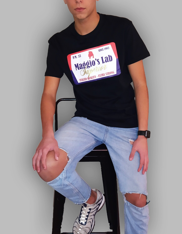 T-Shirt Uomo mezza manica corta con stampa brendizzata - T-Shirt University Bulldog Black