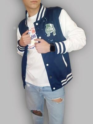 Giacca uomo blu con maniche lunghe bottoni a clip e polsini a righe - College Maggio's blue
