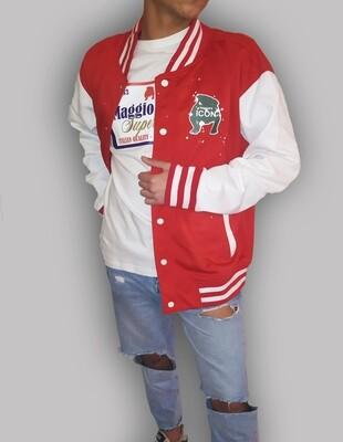Giacca uomo rossa con maniche lunghe bottoni a clip e polsini a righe - College Maggio's red