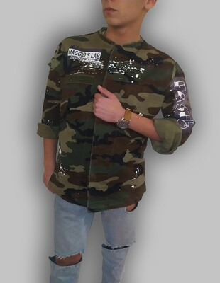 Giacca Mimetica manica lunga con collo alla coreana dipinto a mano - Bully Jacket