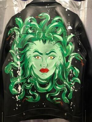 Giacca Pelle Chiodo Medusa dipinta a mano