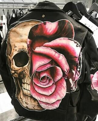 Giacca Pelle Chiodo Rose dipinta a mano