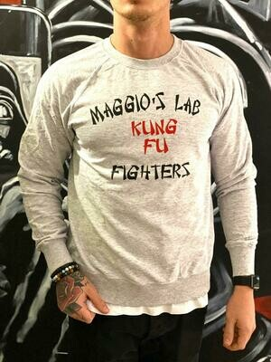 Felpa garzata uomo grigio manica lunga e stampa -  Felpa Kung Fu Crewneck