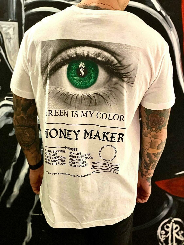 T-Shirt Uomo mezza manica in cotone colore bianco - T-Shirt Money Maker