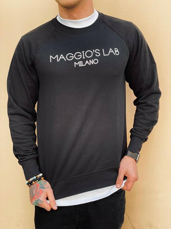 Felpa garzata uomo nera manica lunga brendizzata -  Felpa Maggio's Milano Crewneck