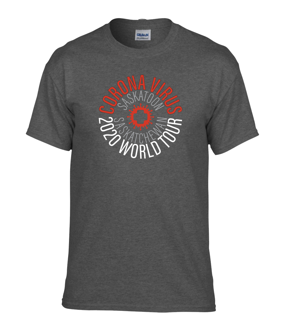 Corona Virus World Tour Heather Grey T-shirt - Add Custom Location!