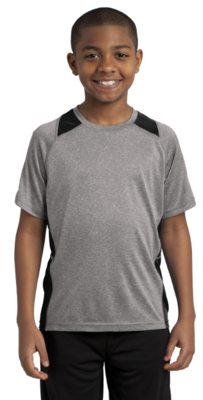 Short Sleeve Youth Heather Colorblock Shirt w/CHCA Jr High Tennis logo