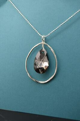 Swarovski Crystal Organic Silver Necklace (matching earrings available)