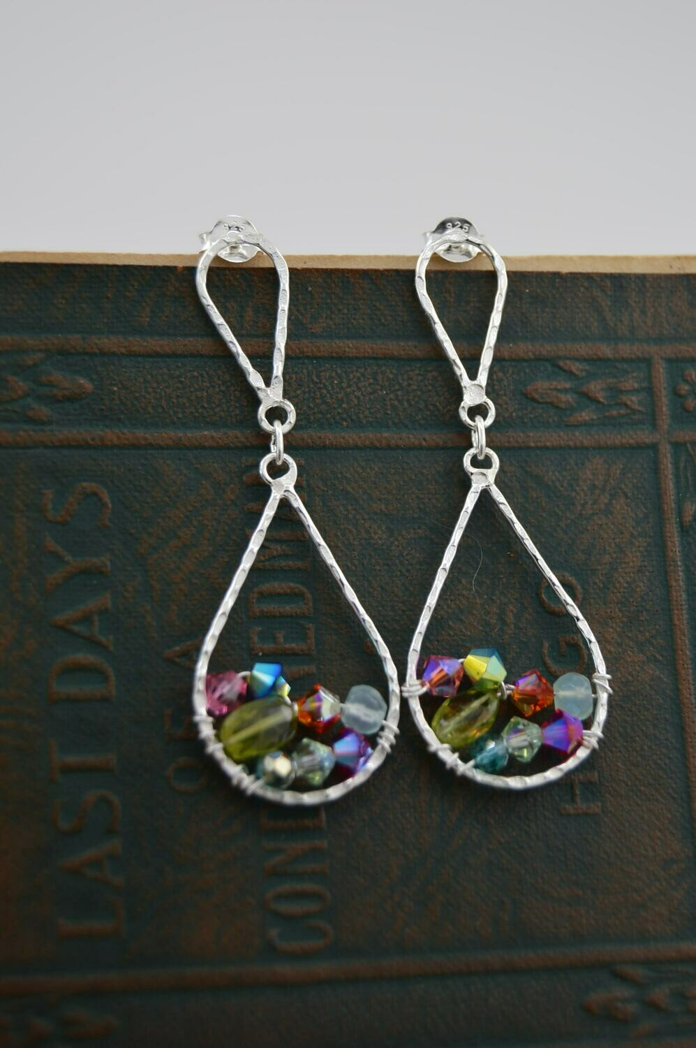Hammered Drop Earrings with Crystal and Gem Accents