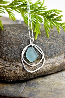 Seaglass Silver Necklace with Organic Layers (matching piece available)