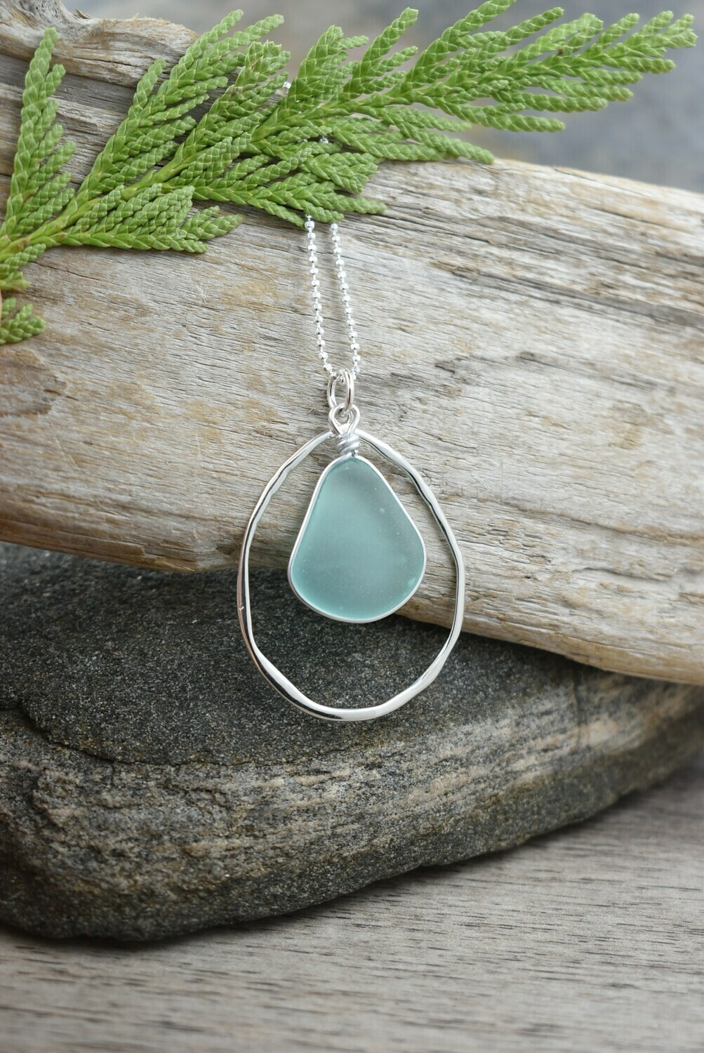 Seaglass Necklace with Organic Silver Frame  (matching piece available)