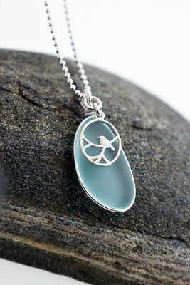 Seaglass Necklace with Songbird Accent