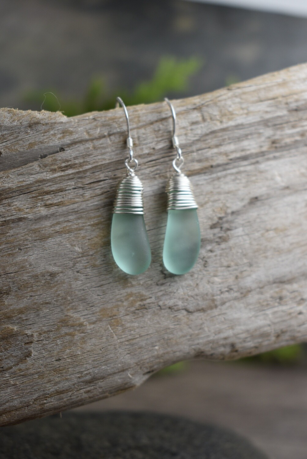 Silver Wire Wrapped Seaglass Earrings (4 colours available)