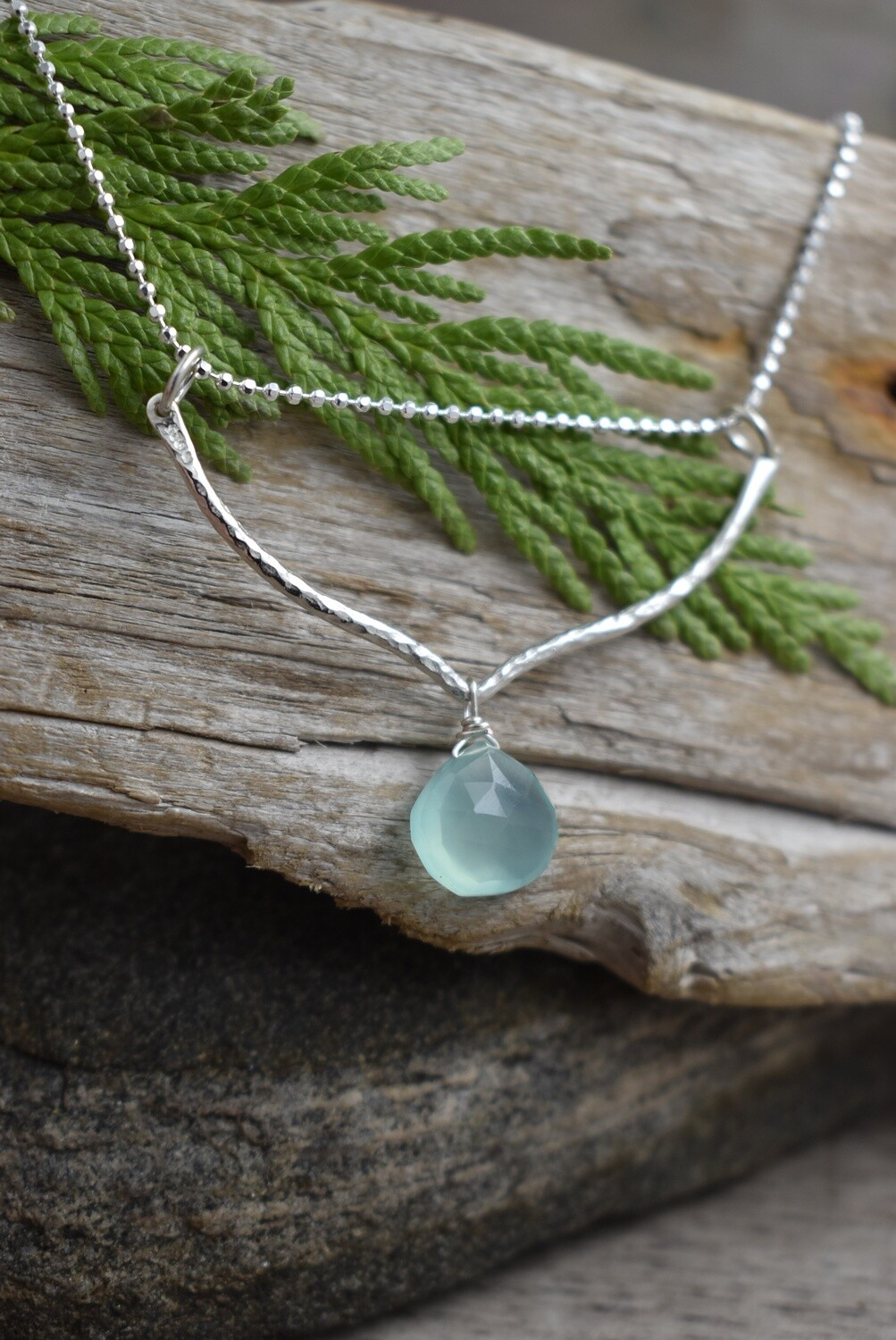 Silver Hammered Petal Necklace with Aqua Chalcedony Gemstone Drops