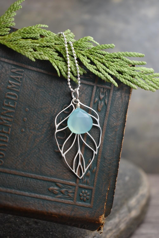 Silver Leaf Necklace with Aqua Chalcedony Gemstone Drop