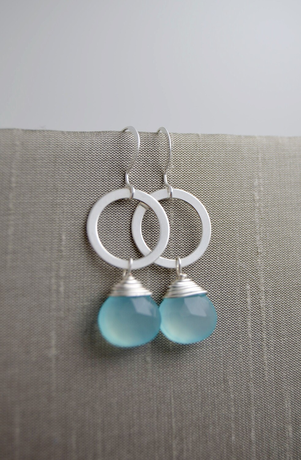 Aqua Chalcedony Quartz Silver Earrings (matching necklace available)