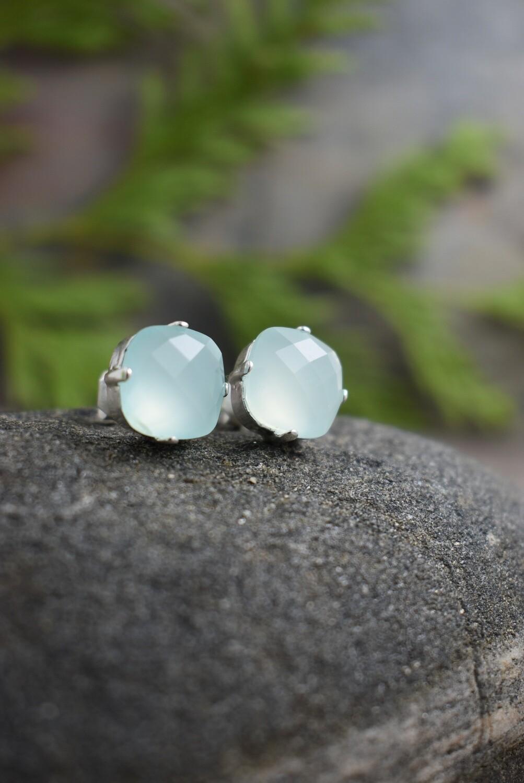 Aqua Chalcedony Quartz Stud Earrings
