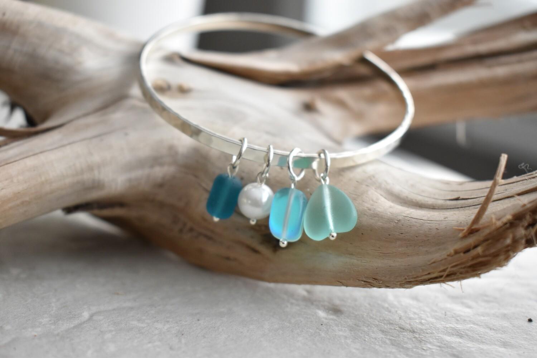 Seaglass Charm Bangle Bracelet