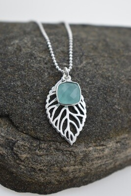 Silver Leaf Necklace with Aqua Chalcedony Gemstone Charm (matching earring options available)