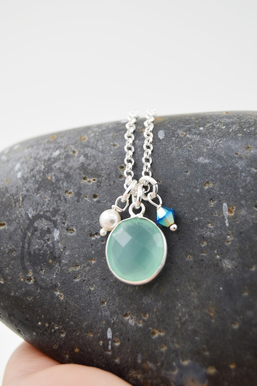 Silver Aqua Chalcedony Gemstone Necklace with Swarovski Charms (matching earring option)