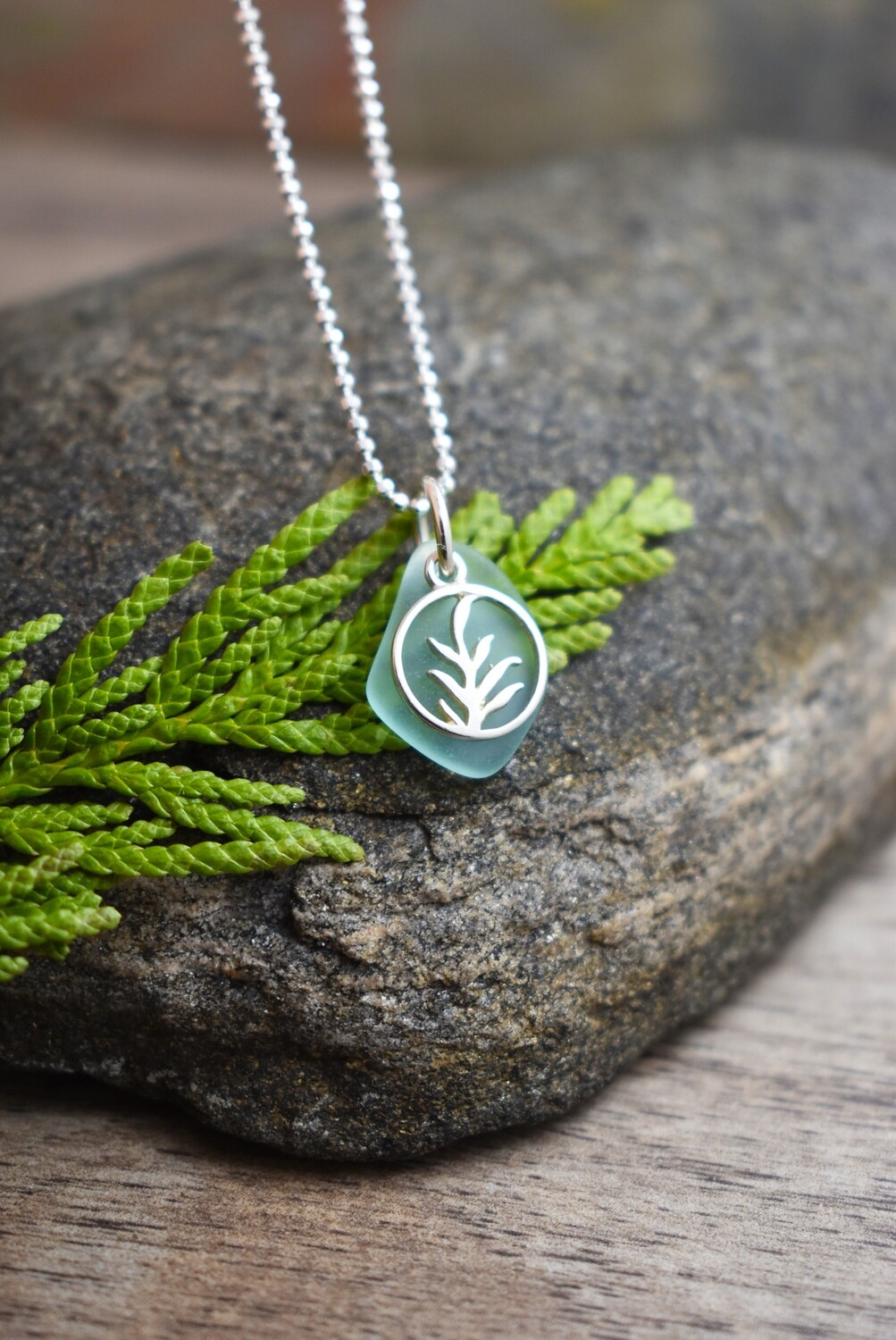 Petite Seaglass and Silver Fern Necklace