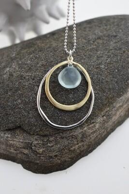 Aqua Chalcedony Quartz - Organic Silver and Gold Necklace