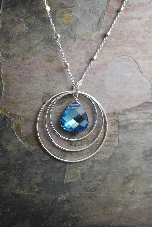 Swarovski Crystal Triple Link Silver Necklace