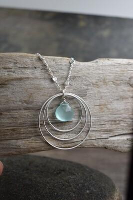 Aqua Chalcedony Gemstone Triple Link Silver Necklace