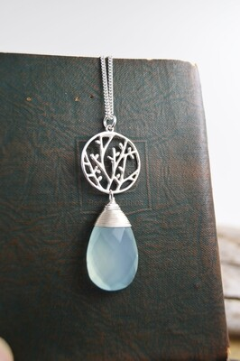 Silver Budding Branch Necklace with Aqua Chalcedony gemstone (matching earrings available)