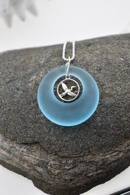 Circular Seaglass Silver Necklace with Japanese Crane